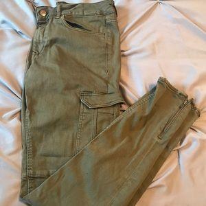 Army Green Cargo Skinny Jeans